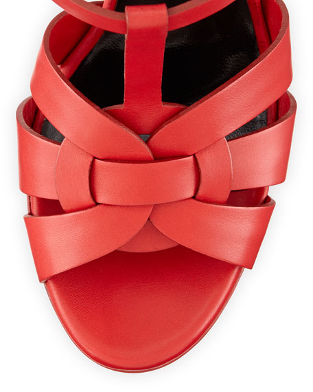 Tribute Leather Platform Sandal, Rouge