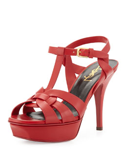 Saint Laurent Tribute Mid-Heel Leather Platform Sandal, Red