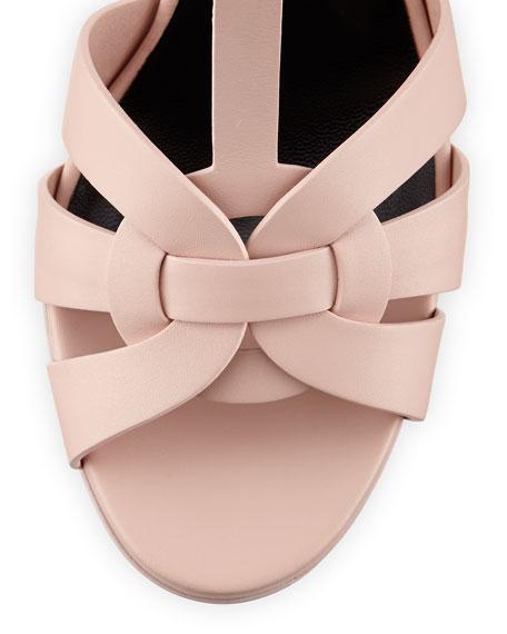 Tribute Mid-Heel Leather Platform Sandal, Pale Blush