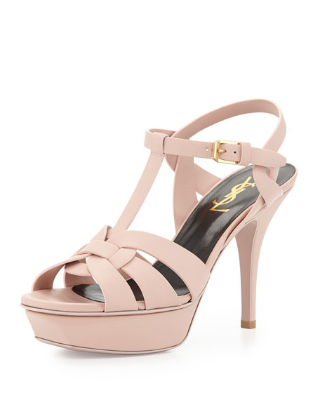 Saint Laurent Tribute Mid-Heel Leather Platform Sandal, Pale