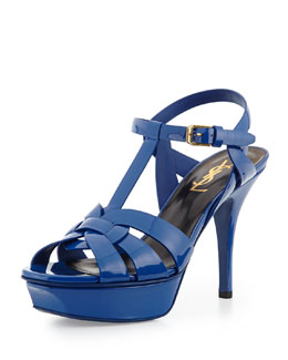 Saint Laurent Tribute Mid-Heel Leather Platform Sandal, Blue Majorelle