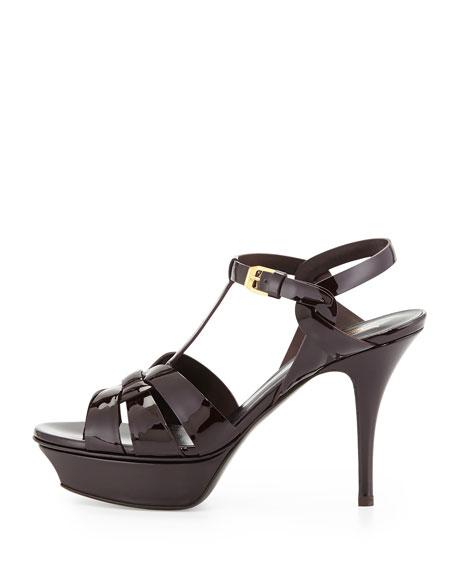 Tribute Mid-Heel Patent Platform Sandal, Bourgogne