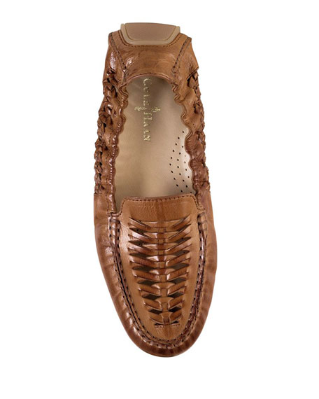 Sadie Huarache Leather Loafer, Tan