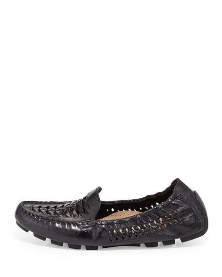 Sadie Huarache Leather Loafer, Black