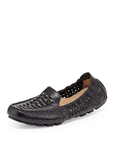 Sadie Huarache Leather Loafer, Black
