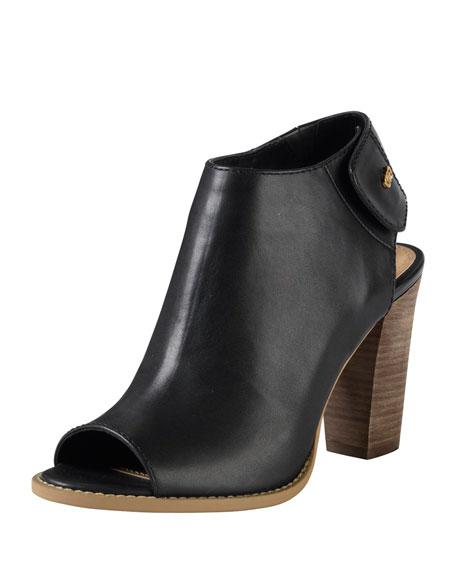 Wrey Peep-Toe Leather Bootie, Black