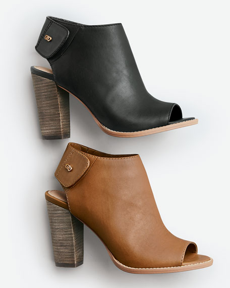 Wrey Peep-Toe Leather Bootie, Camello