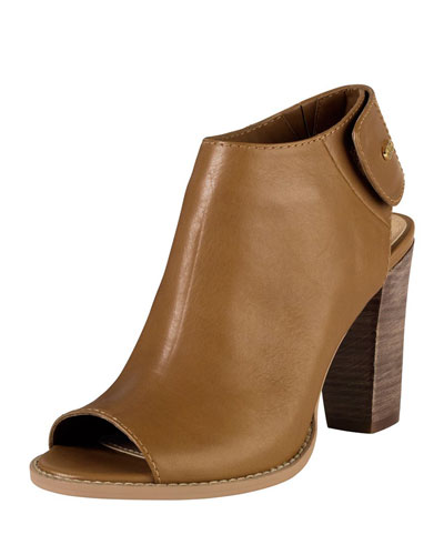 Cole Haan Wrey Peep-Toe Leather Bootie, Camello