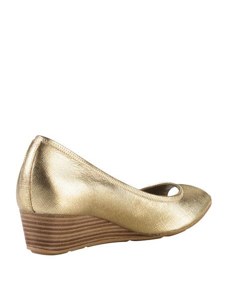Air Tali Metallic Peep-Toe Wedge, Gold