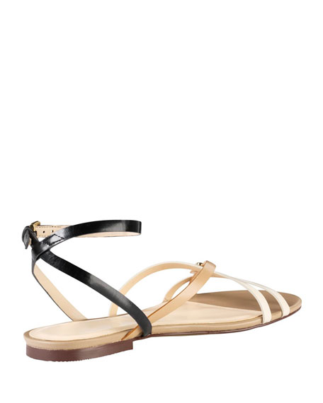 Jensen Strappy Leather Sandal, Black/White