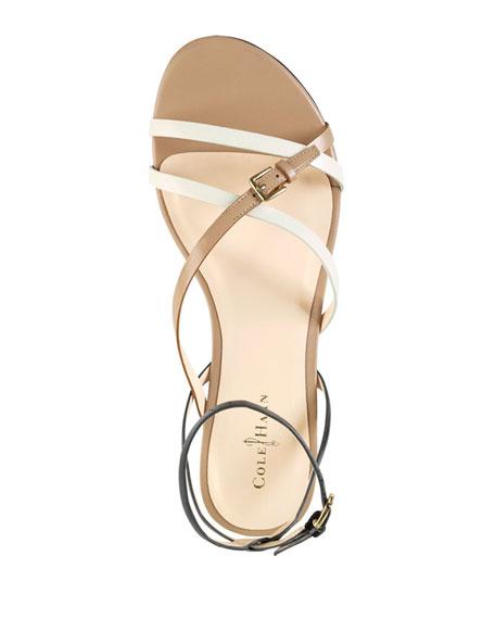 Jensen Strappy Leather Sandal, Black/White