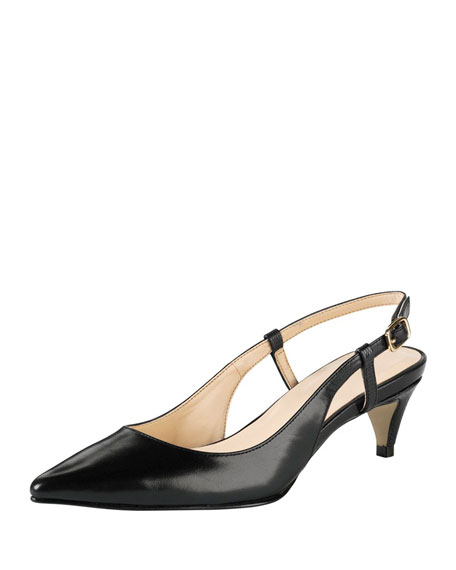 Juliana Low-Heel Slingback Pump, Black