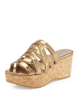 Jimmy Choo Nita Strappy Cork Wedge Slide, Antique Gold
