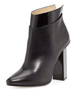 Jimmy Choo Legion Leather Point-Toe Bootie, Black