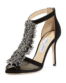 Jimmy Choo Feline Beaded T-Strap Sandal, Black