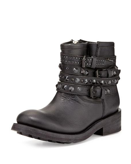 Tatum Studded-Strap Moto Ankle Boot, Black
