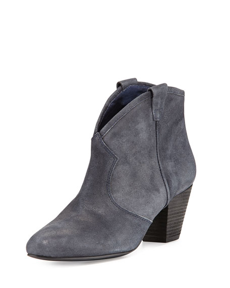 Jalouse Suede Slip-On Western Ankle Bootie, Midnight