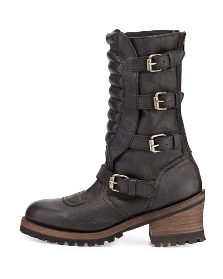 Strike Mid-Calf Leather Buckle Moto Boot, Black