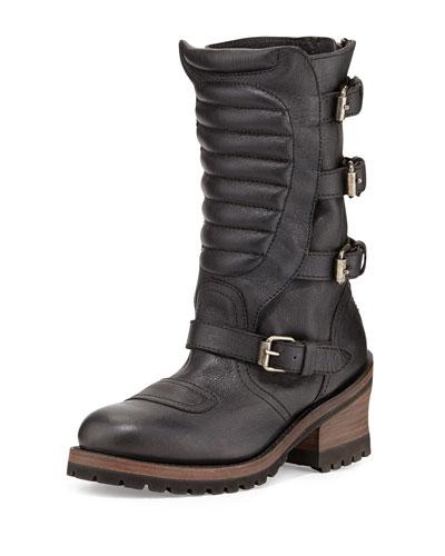 Ash Strike Mid-Calf Leather Buckle Moto Boot, Black