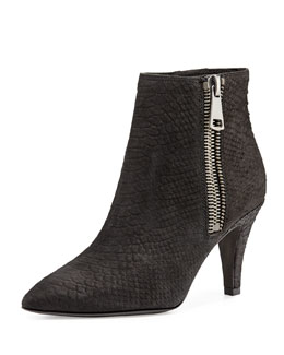 Ash Cox Python-Embossed Bootie, Black
