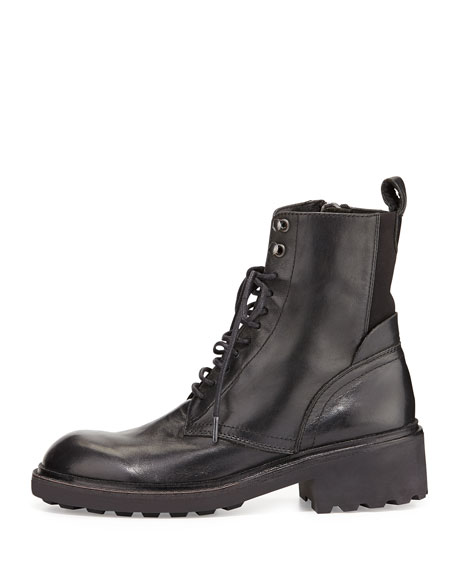Styx Lace-Up Leather Combat Boot, Black