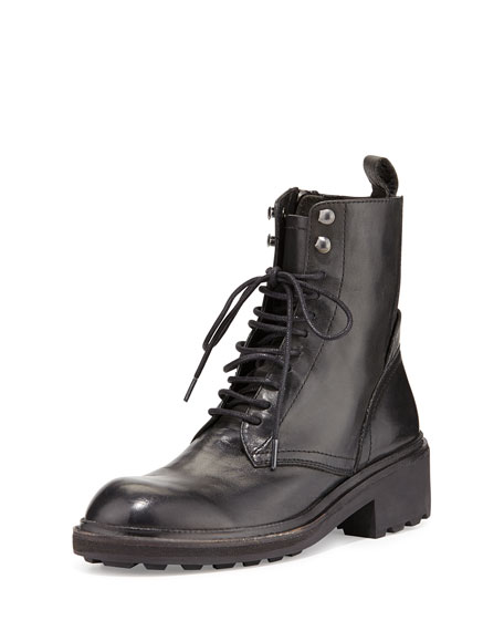 Ash Styx Lace-Up Leather Combat Boot, Black