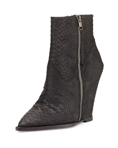 Ash Julie Snake-Print Leather Wedge Bootie, Black