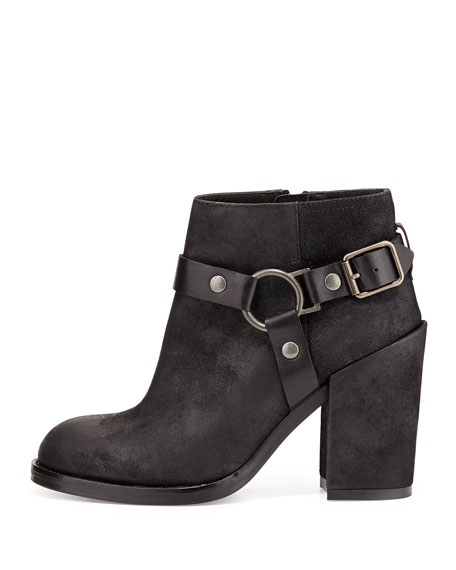 Falcon Ring Strap Leather Ankle Boot, Black