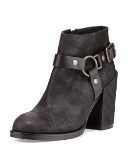 Ash Falcon Ring Strap Leather Ankle Boot, Black