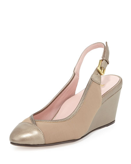 Taryn Rose Karine Stretch Slingback Wedge, Quartz