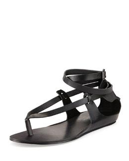 Saint & Libertine Brea Ankle-Wrap Thong Sandal, Black