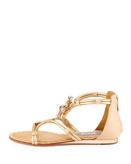 Basil Studded Ornament Sandal, Light Gold