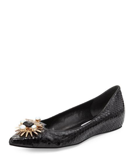 Joy Embellished Snakeskin Skimmer, Black