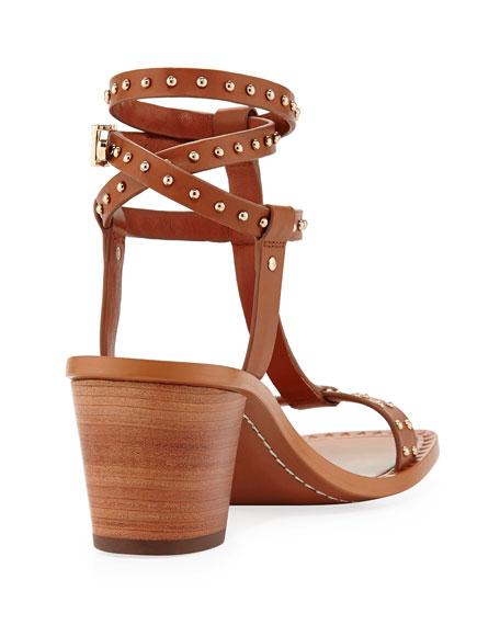 Olympian Studded City Sandal, Cognac