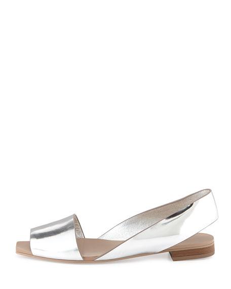 Taylor Metallic Slingback Flat, Silver