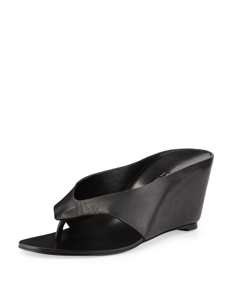 Prince Thong Wedge Sandal, Black