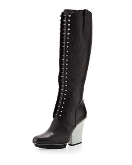 3.1 Phillip Lim Runway Juno Lace-Up Leather Knee Boot, Black