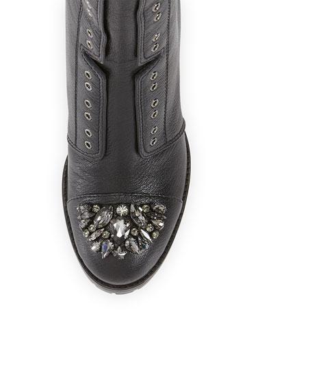 Datchet Crystal-Toe Combat Boot, Black