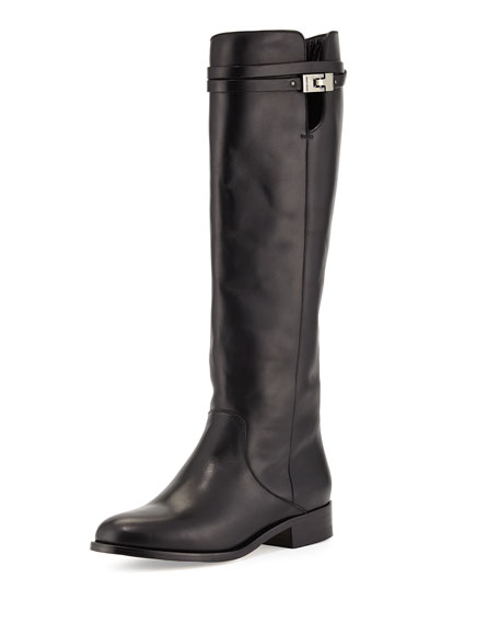 Jimmy ChooHyson Belted Leather Knee Boot, Black