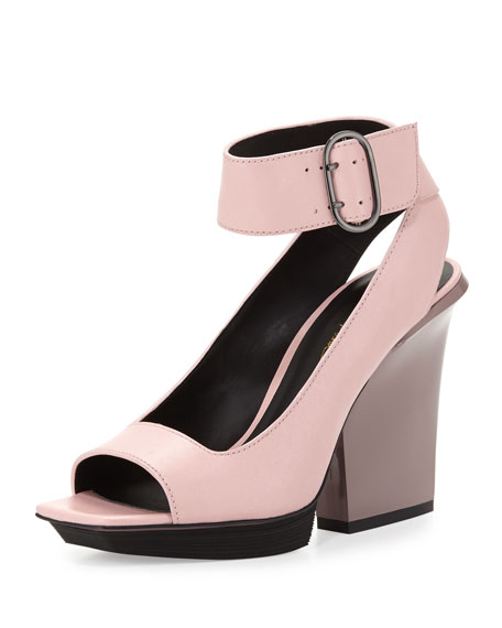 Runway Peep-Toe Ankle-Wrap Sandal, Bubble Gum