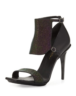 3.1 Phillip Lim Aurora Stingray-Print Leather Sandal, Petrol/Black