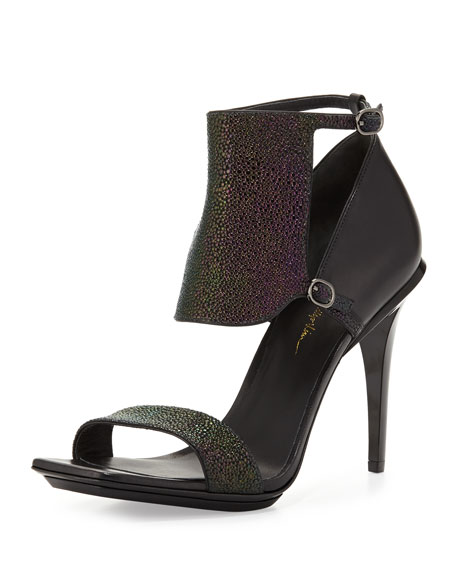 Aurora Stingray-Print Leather Sandal, Petrol/Black