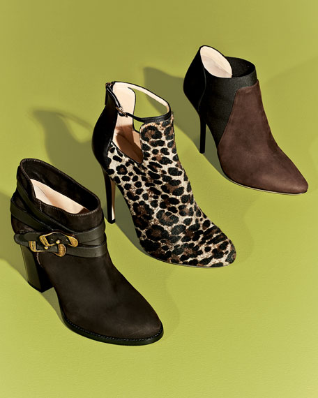 Deluxe Bicolor Ankle Boot, Mitro/Black