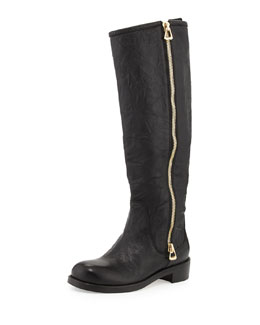 Jimmy Choo Doreen Flat Zip Knee Boot, Black