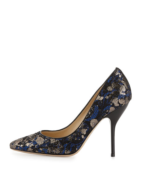 Mitchel Metallic Lace Pump, Aegean