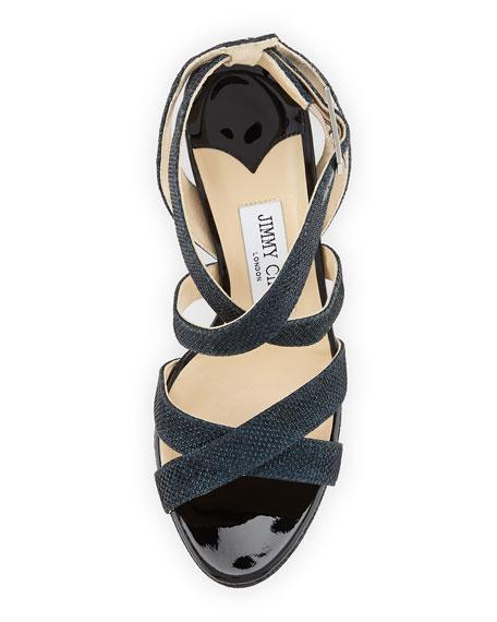 Vamp Glittery Crisscross Sandal, Ink (Navy)