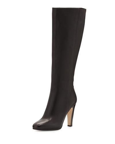 Mandel Leather Knee Boot, Black