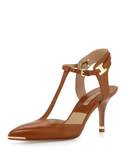 Michael Kors  Silvia Pointed-Toe T-Strap Pump