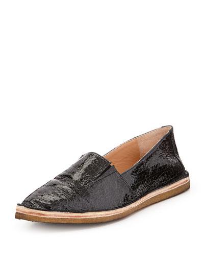Ailssa Crackled Patent Loafer, Black