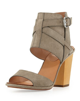 VC Signature Okalini Strappy Buckle Suede City Sandal, Roccia Gray